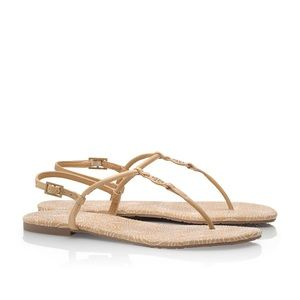 Tory Burch Stitched Logo Flat Sandals